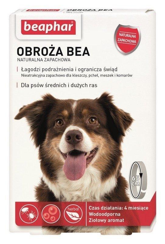 beaphar Obroża BEA przeciw pchłom i kleszczom 65cm naturalny zapach da Średnich i Dużych psów