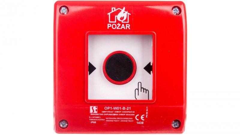 Przycisk ppoż. natynkowy 2Z 1R czerwony OP1-W01-B21