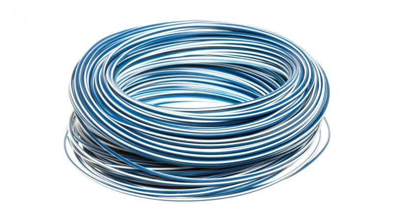 Przewód instalacyjny H05V-K 0,75 ciemnoniebieski z białym paskiem 4510922 /100m/