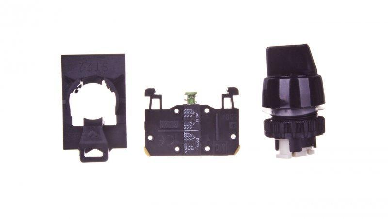 Przełącznik 2 położeniowy pokrętło 22mm czarny 1Z bez samopowrotu ST22-P.CZ-10CZ