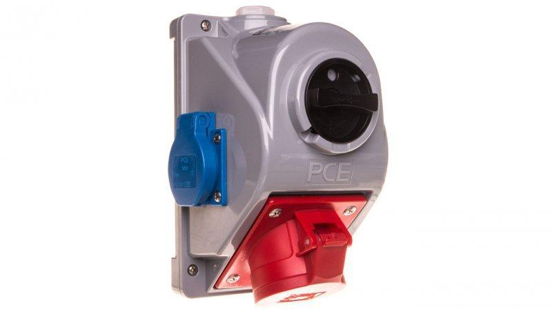 Zestaw instalacyjny z gniazdem 16A 5P+2x2P+Z (0-1) czerwony Combopol 61132-6 96061552W