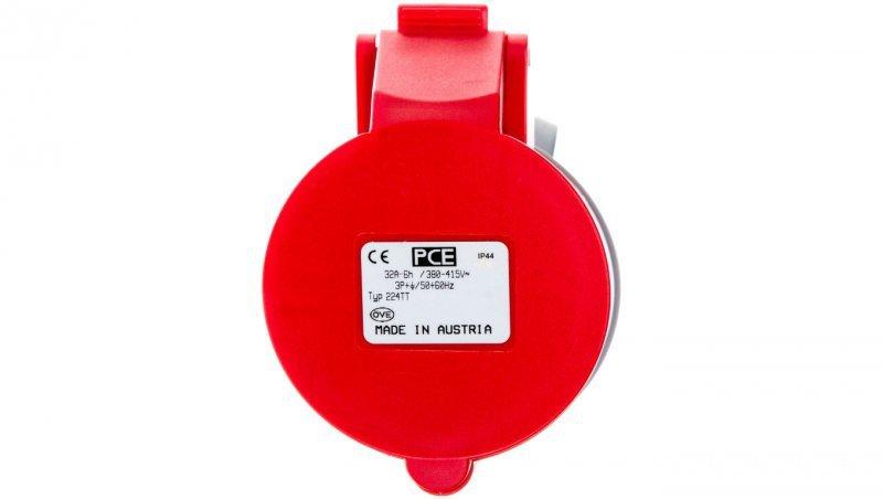 Gniazdo przenośne 32A 4P 400V czerwone IP44 TURBO SHARK 224-6TT