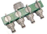 Gartenschlauch Verteiler 4 Fach regelbar Schlauchverteiler Wasserverteiler