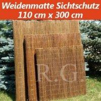 Weidenmatte Sichtschutz Rollzaun 110 cm x 300 cm
