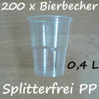 200 Bierbecher 0,4 L Transparent