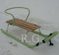 Schlitten aus Metall mit Rückenlehne ohne Schiebestange in grün