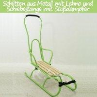 Schlitten aus Metall mit Rückenlehne Schiebestange und Stoßdämpfer grün