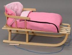 Holzschlitten mit Rückenlehne Winterfußsack 90cm Rosa