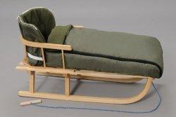 Holzschlitten mit Rückenlehne Winterfußsack 108cm Dunkelgrün