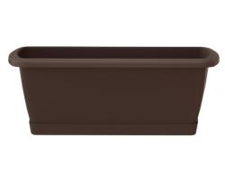 Balkonkasten Geländerkasten Blumentopf Respana Set 400 braun + Plastikhalterungen