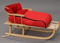 Holzschlitten mit Rückenlehne Winterfußsack 90cm Rot