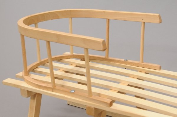 Holzschlitten mit Rückenlehne Winterfußsack 90cm Dunkelblau