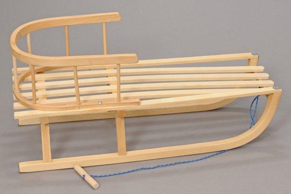 Holzschlitten mit Rückenlehne Winterfußsack 108cm Schwarz