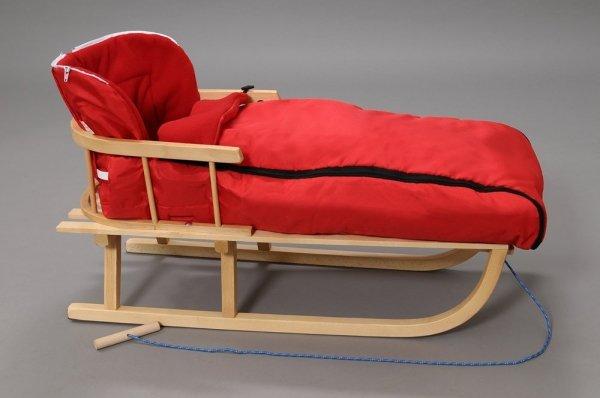 Holzschlitten mit Rückenlehne Winterfußsack 108cm Rot