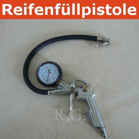 Reifenfüllpistole mit Manometer Reifenfüller bis 15 bar