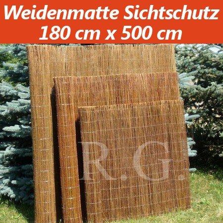 Weidenmatte Sichtschutz Rollzaun 180 cm x 500 cm