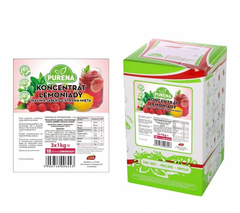 Lemoniada malina-cytryna-mięta koncentrat 18l/3kg
