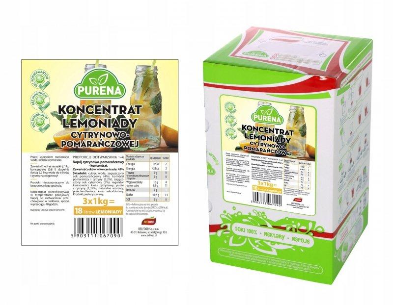 Lemoniada cytryna - pomarańcz koncentrat 18l/3kg