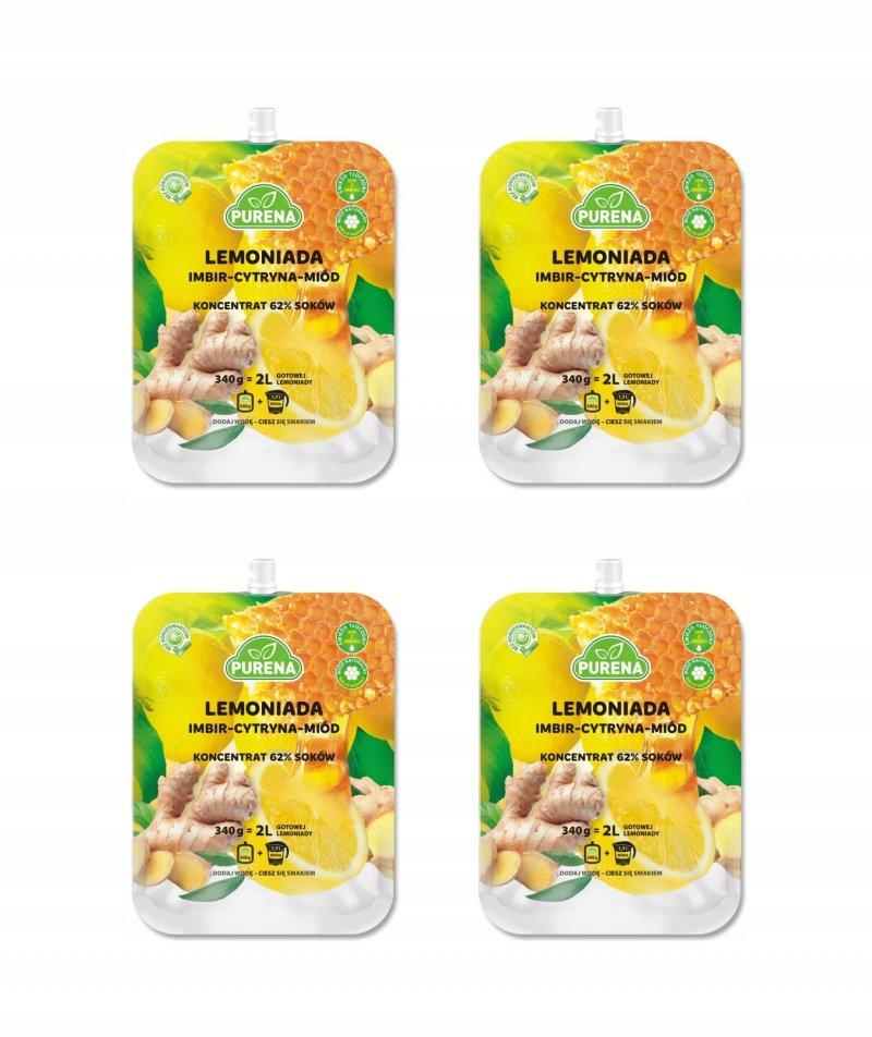Lemoniada imbir-cytryna-miód koncentrat 340 g x 4 szt = 8l