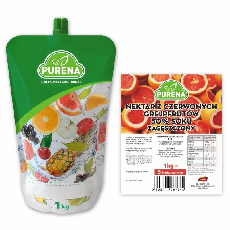 Nektar z czerwonych grejpfrutów 50% zagęszczony 5l/1kg