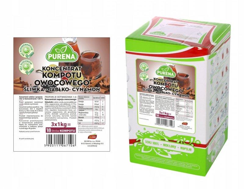 Kompot śliwka-jabłko-cynamon koncentrat 18l/3kg
