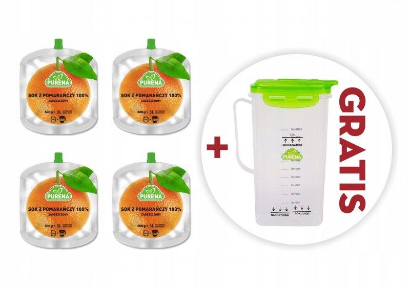 Sok pomarańczowy 100% zagęszczony 600g x 4 szt = 12 l + dzban gratis