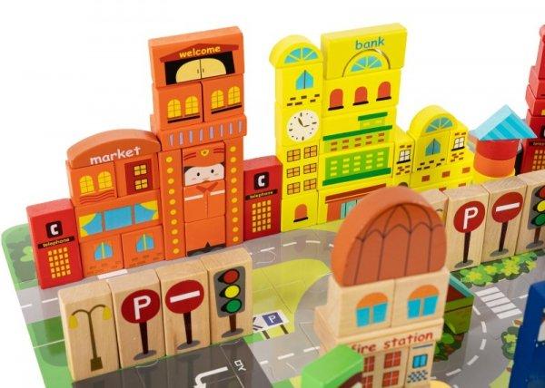 Holzbausteine Bauklötze Holzklötze Stadt 196 Zubehör Holzspielzeug Set Kind Kinder Babys aus echtem Holz