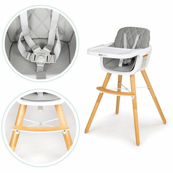 Babyhochstuhl 2in1 Grau Verstellbar Kinderhochstuhl Stuhl Babystuhl Kinderstuhl Hochstuhl Tablett Baby Kinder Esszimmer