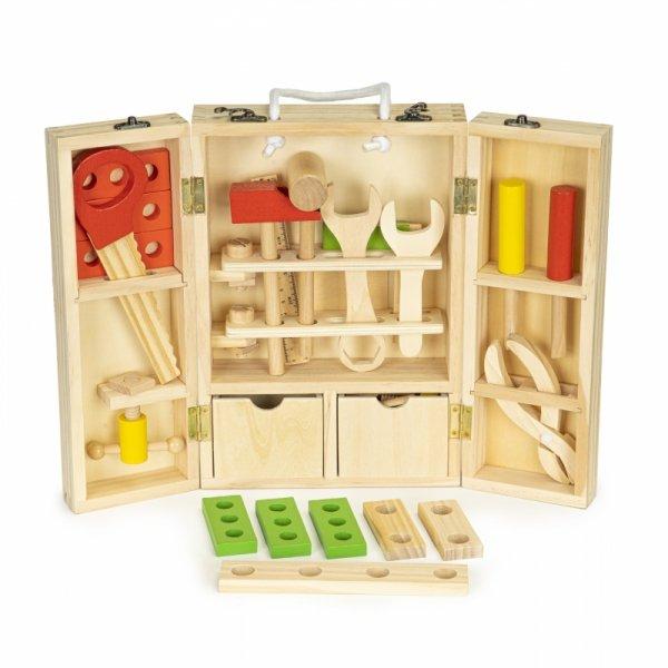Werkzeugkoffer Kinder 10 Werkzeuge Holz Kinderwerkzeug Werkzeugkasten Box Koffer Holzspielzeug