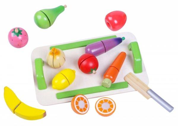 ECOTOYS Lebensmittelset Obst Gemüse Holz Holzset Spielzeug Kinderspielzeug Kind