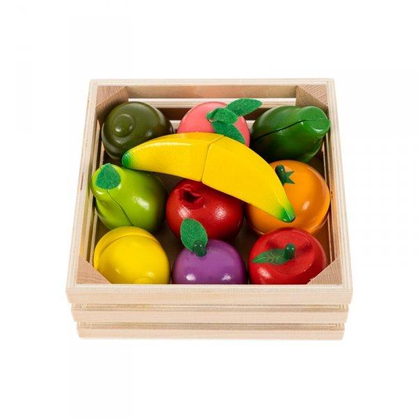 HOLZ Lebensmittel OBST zum Schneiden ECOTOYS Spielküche Kaufladen Spielzeug Set