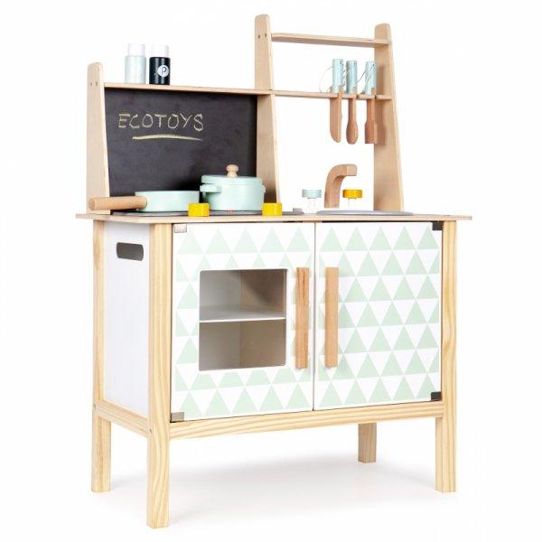 Holzspielküche Holzkinderküche ECOTOYS Spielzeugküche Holzspielzeug TAFEL NEU