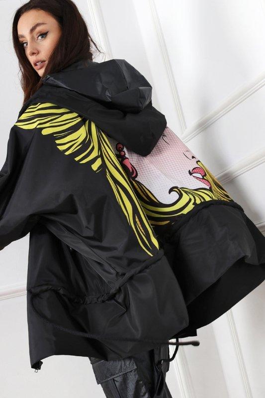 oversize'owa kurtka z nadrukiem na plecach