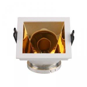 Oprawa Oczko V-TAC GU10 Wpuszczana Biały/Złoty Kwadrat VT-875 3 Lata Gwarancji