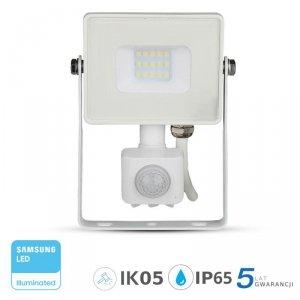 Projektor LED V-TAC 10W SAMSUNG CHIP Czujnik Ruchu Funkcja Cut-OFF Biały VT-10-S 6400K 800lm 5 Lat Gwarancji