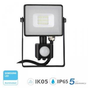 Projektor LED V-TAC 10W SAMSUNG CHIP Czujnik Ruchu Funkcja Cut-OFF Czarny VT-10-S 3000K 800lm 5 Lat Gwarancji