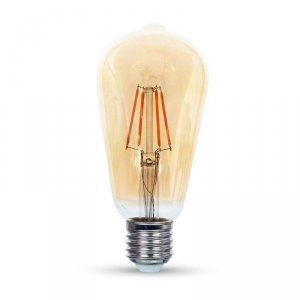 Żarówka LED V-TAC 6W E27 Filament Bursztyn ST64 VT-1966 2200K 500lm