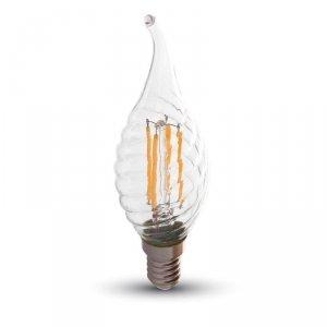 Żarówka LED V-TAC 4W Filament E14 Twist Świeczka Płomyk VT-1995 6400K 400lm