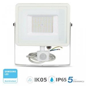 Projektor LED V-TAC 50W SAMSUNG CHIP Czujnik Ruchu Funkcja Cut-OFF Biały VT-50-S 4000K 4000lm 5 Lat Gwarancji