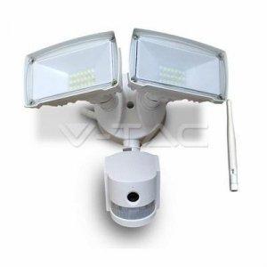 Projektor LED z Kamerą WiFi 18W Czujnik Ruchu Biały V-TAC VT-4818 6000K 600lm