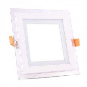 Panel LED V-TAC 6W LED Szkło Kwadrat VT-602G 4000K 420lm