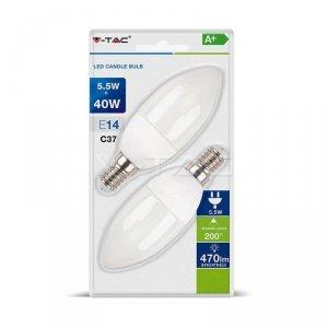 Żarówka LED V-TAC 5.5W E14 Świeczka (Blister 2szt) VT-2106 6400K 470lm