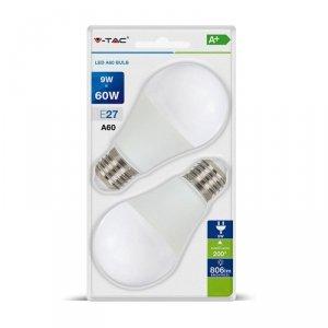 Żarówka LED V-TAC 9W E27 A60 (Blister 2szt) VT-2139 4000K 806lm