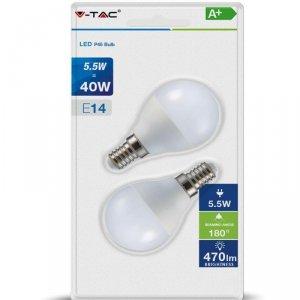 Żarówka LED V-TAC 5.5W E14 P45 Kulka (Blister 2szt) VT-2146 4000K 470lm