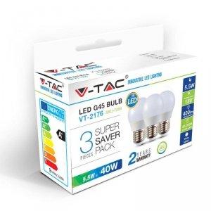 Żarówka LED V-TAC 5.5W E27 G45 P45 Kulka (Opak. 3szt) VT-2176 6400K 470lm