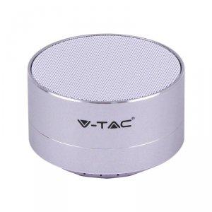 Przenośny Metalowy Głośnik Bluetooth Micro SD Mikrofon 400mah Srebrny V-TAC VT-6133