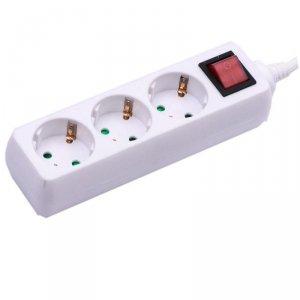 Przedłużacz 3 gniazda z włącznikiem V-TAC (3G 1.5MM2 X 1.5M) Biały VT-1113