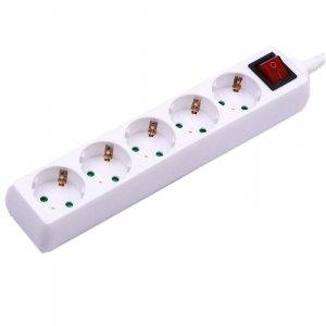Przedłużacz 5 gniazd z włącznikiem V-TAC (3G 1.5MM2 X 1.5M) Biały VT-1115