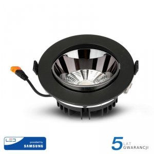 Oprawa Downlight V-TAC SAMSUNG CHIP 10W Czarna Uchylna VT-2-13 6400K 800lm 5 Lat Gwarancji