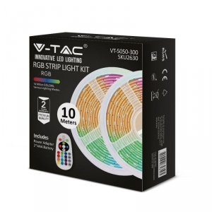 Taśma LED V-TAC Zestaw RGB SMD5050 2x5mb Pilot Sterownik Zasilacz VT-5050-300 RGB 500lm